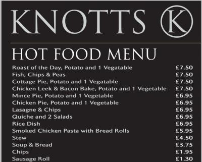 Menu at Knotts, Newtownards.
