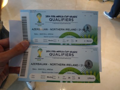 Our match tickets for Azerbaijan v. Northern Ireland in Baku.