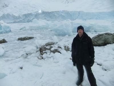 Backpacker in Neko Harbour, Antarctica.