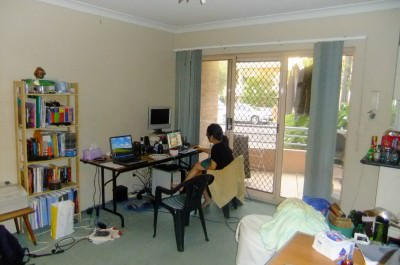 At home with Rebecca in 2011 in Parramatta, Australia.