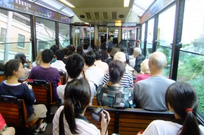 On board the peak tram in Hong Kong.