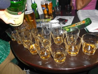 The table of whiskey bought for us by the Azerbaijan FA.