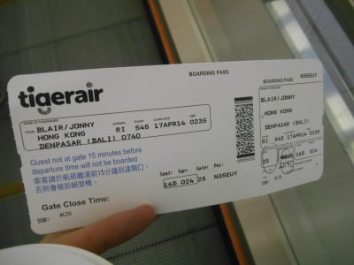 My boarding pass for my recent flight to Dili, I didn't have a printed booking this time.