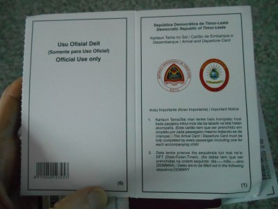east timor visa form