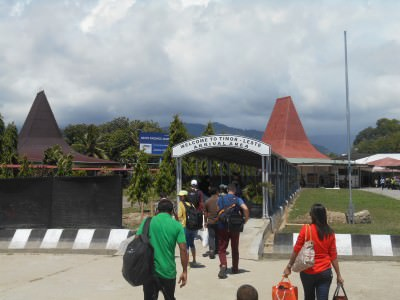 Arrival in Dili off the plane.