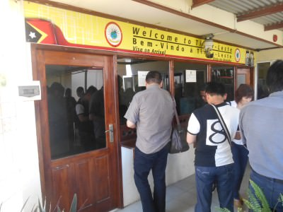 The immigration booth at Dili Airport in East Timor.