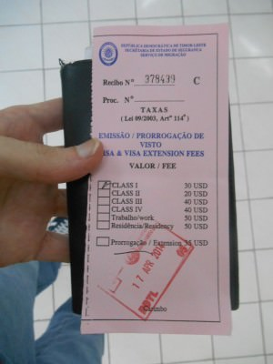The pink form that you get when you pay for your East Timor Visa at the first booth.