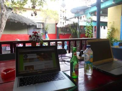 In the beer garden - blogging, relaxing and having a Bintang beer.