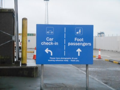 The entrance to the ferry terminal in Belfast - car check in and foot passenger check in.