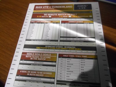 Betting slip for Manchester United v. Sunderland