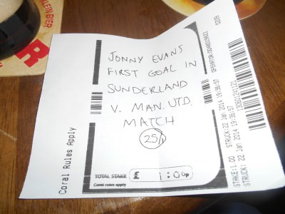 Our Jonny Evans bet in January 2014