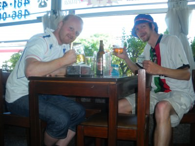 Me and my top Norwegian mate Lief having a beer but alcohol can be strict.