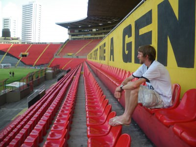 At the football stadium in Recife.