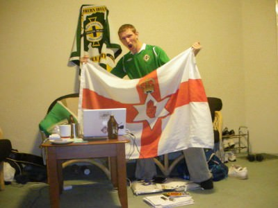 Watching Northern Ireland on my laptop in Australia in 2010.