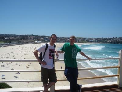 Dan and I backpacking at Bondi Beach in Sydney. Glory days...