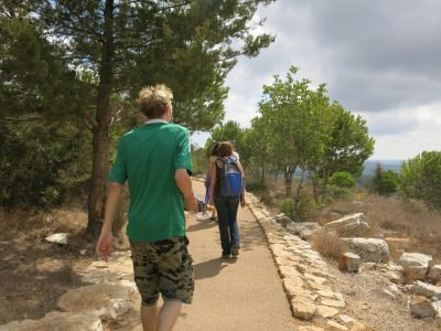 Walking to the Qeshet Cave, Israel.
