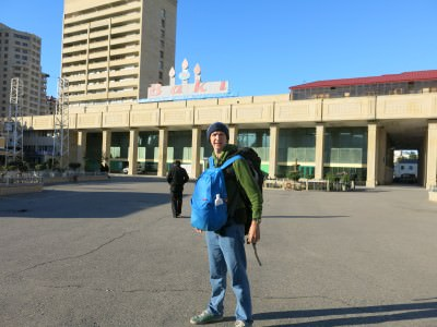 Backpacking in Azerbaijan ready for the match!