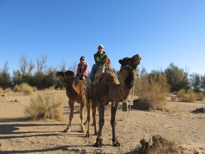 Backpacking in Iran: Camel riding on the edge of Mesr at the Dasht-e Kavir desert.