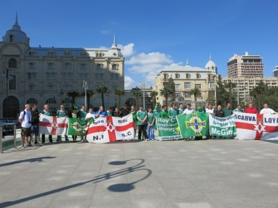 Match day in Baku with the Norn Iron fans - the Green and White Army.