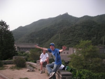 Taking a break on the Great Wall of China.