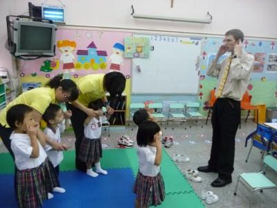 Wearing a tie while teaching English in Hong Kong.