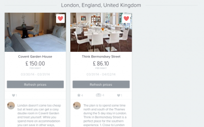 You can use Yonderbound to book hotels or even just bookmark the hotels for your own reference.