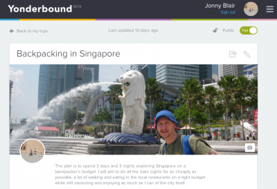 My Yonderbox for Backpacking in Singapore.