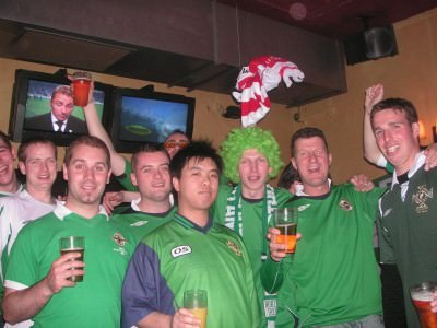 Happy times supporting Northern Ireland.