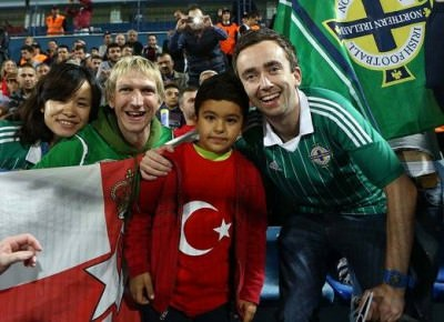 Watching Northern Ireland in Adana, Turkey last year. Next stop: Brazil for the World Cup!