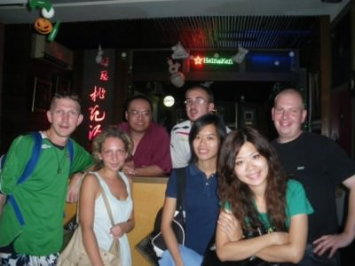"""A big crowd on one of many nights out down the """"Ocean Every Day"""" pub in Xinying."""