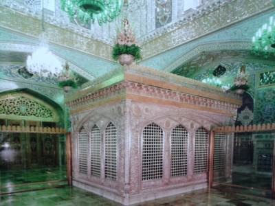 The green chamber which used to be the shrine of Imam Reza - now inside the museum
