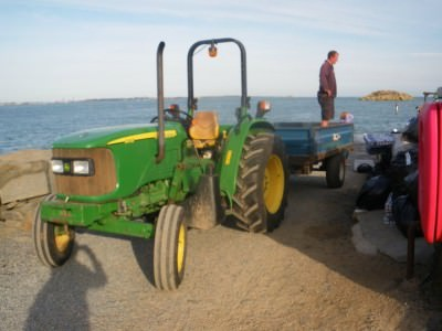 A tractor by the harbour in Herm
