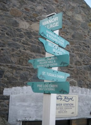 Some sign posts on Herm, and the Power Station!