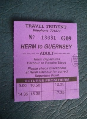 My ticket from Guernsey to Herm.