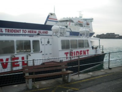 Travel Trident docked in St. Peter Port Guernsey.