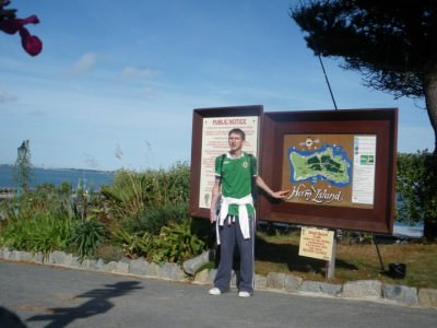 I arrived at the main Harbour on Herm next to the Welcome to Herm Sign and island map.