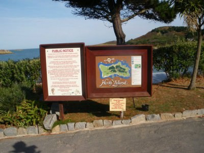 Entrance information on Herm Island