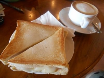 Cheese on Toast and a coffee in Hotel Timor, Dili