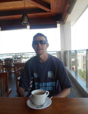 Having a coffee in Dili East Timor in the Sky Bar