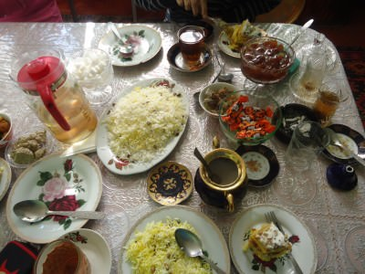 A feast at our homestay in Xinaliq