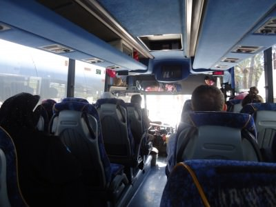 Our bus across the border - it's an Arabic bus and cost us 7.30 Shekels