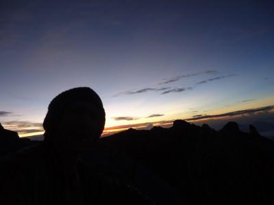 Dark selfie on the final ascent.