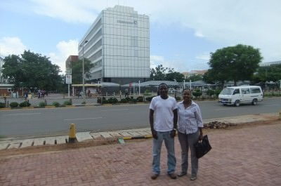 Diamonds in Botswana: My friends Louis and Fingile outside Debswana's offices