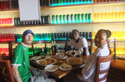 Reunion dinner with Louis and Fingi in Gaborone, Botswana