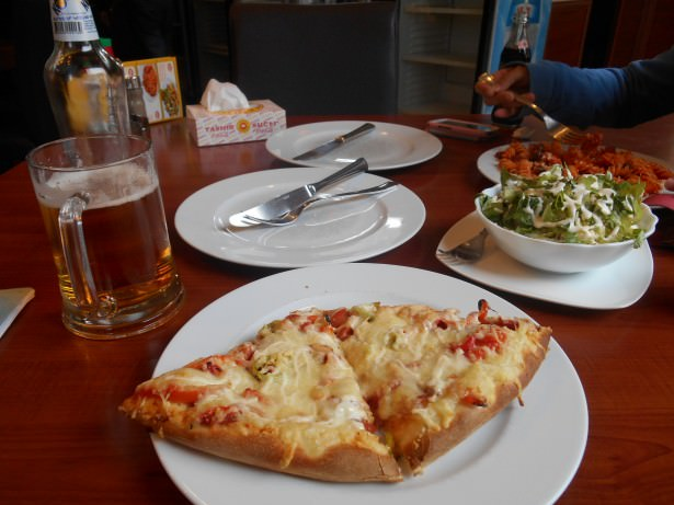 Friday's Featured Food: Pizza, pasta, salad and beer in Nagorno Karabakh.