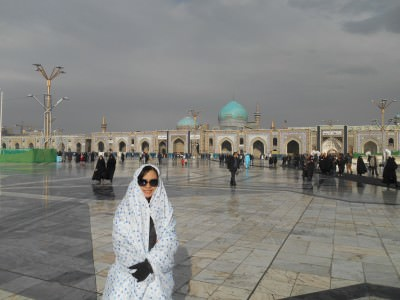 This is Panny dressed up in the Imam Reza Shrine - ladies need to cover up.