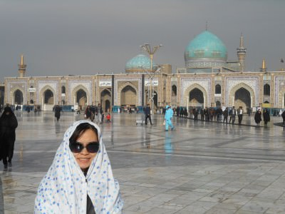 A photo of Panny inside the Imam Reza complex.