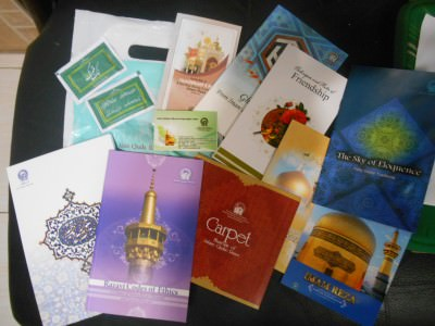 All these souvenirs and leaflets were given to us for free at the Imam Reza Shrine including some cool postcards.