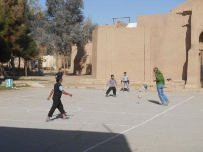 Playing football with the kids in Yazd, Iran