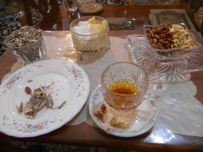 Afternoon tea and nuts.